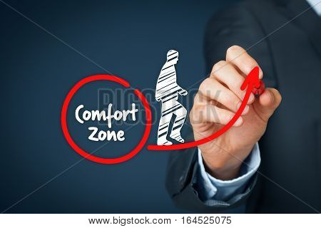 Leave your comfort zone personal development motivation innovation and challenge concepts.