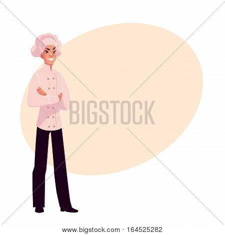 Young and handsome male chef in white uniform with arms folded across his chest, cartoon vector illustration on background with place for text. Full length portrait of restaurant, cafe male chef