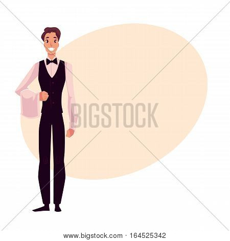 Young, handsome restaurant, cafe waiter in black and white uniform ready to serve, cartoon vector illustration on background with place for text. Full length portrait of waiter holding towel on his elbow