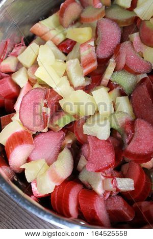 Rhubarb chunks freshly cut with pineapple bits