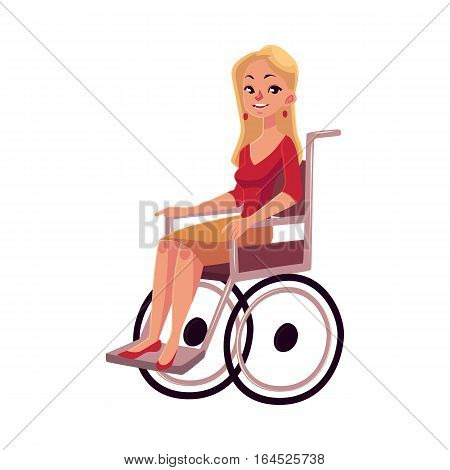Young beautiful blond woman sitting in wheelchair, cartoon vector illustration isolated on white background. Happy woman sitting in wheelchair, living with disability, equal opportunities concept
