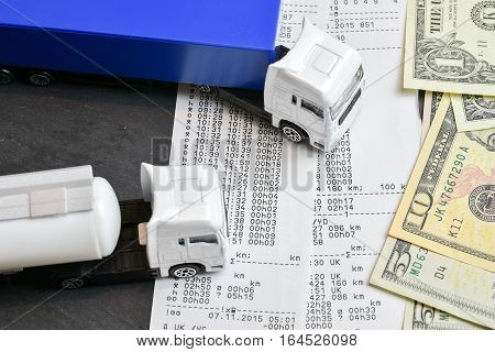 Digital tachograph printed day shift with lorry and cash