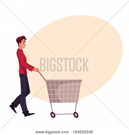 Young man pushing a shopping cart, cartoon vector illustration on background with place for text. Full length portrait of young man buying products with a shopping cart, trolley, consumerism concept