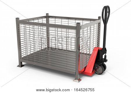 Hand pallet truck with transportation box on white background 3D rendering