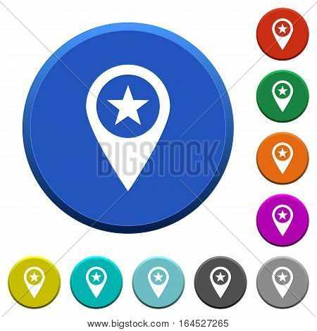 POI GPS map location round color beveled buttons with smooth surfaces and flat white icons