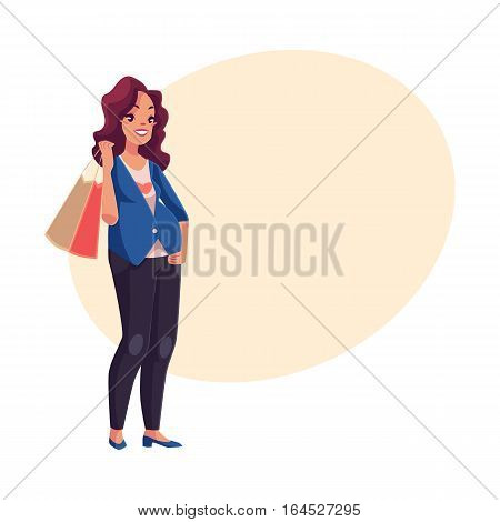 Half turned young pregnant woman holding shopping bag on her shoulder, cartoon vector on background with place for text. Beautiful pregnant woman with a shopping bag, fashion store customer