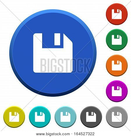 Save data round color beveled buttons with smooth surfaces and flat white icons