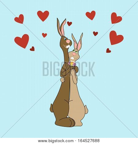Hares in love. Two rabbits together. Be my Valentine. Vector illustration
