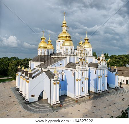 Panoramic view of the St. Michael's Golden-Domed Monastery. Kiev, Ukraine, famous church complex summer day with beautiful blue sky
