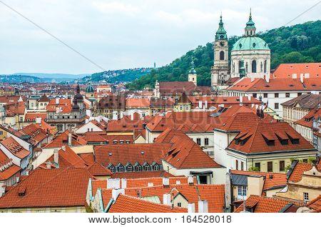 Aerial view at Prague's historic centre Czech Republic.