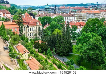Aerial view at Prague's historic centre Czech Republic.