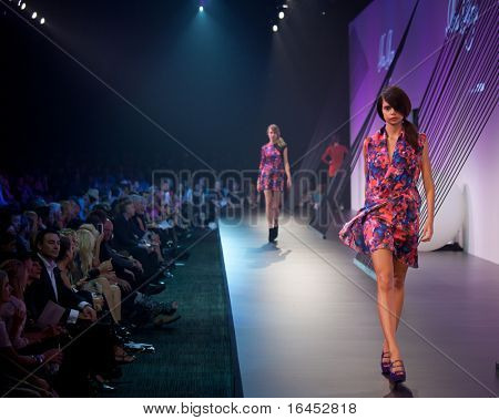 MELBOURNE, AUSTRALIA - MARCH 18: A model showcases designs by Nina Maya in the 2010 L'Oreal Melbourne Fashion Festival at Central Pier, Docklands on March 18, 2010 in Melbourne, Australia