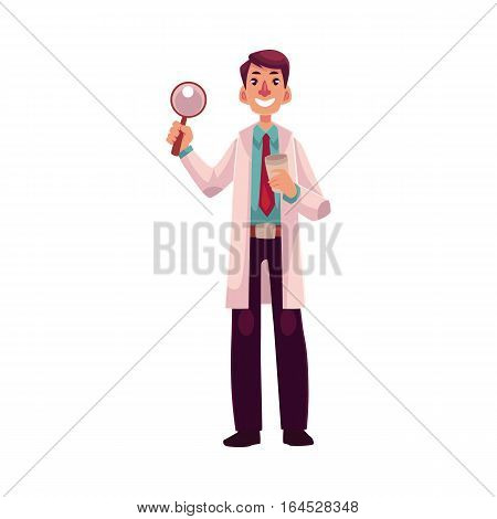 Smiling male dermatologist doctor standing with magnifying glass in one hand, cartoon vector illustration isolated on white background. Male dermatologist, healthcare professional holding magnifier