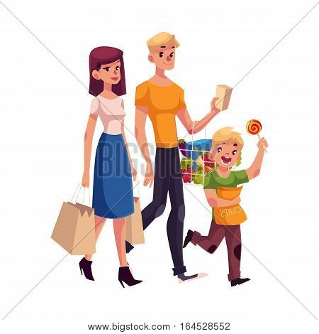 Family of father, mother and son shopping together, cartoon vector illustration isolated on white background. Family buying food, shopping, carrying bags and basket with grocery products
