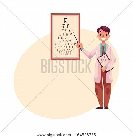 Optometrist doctor standing and pointing to a letter on eye examination chart, cartoon vector on background with place for text. Male optometrist, eye desease specialist