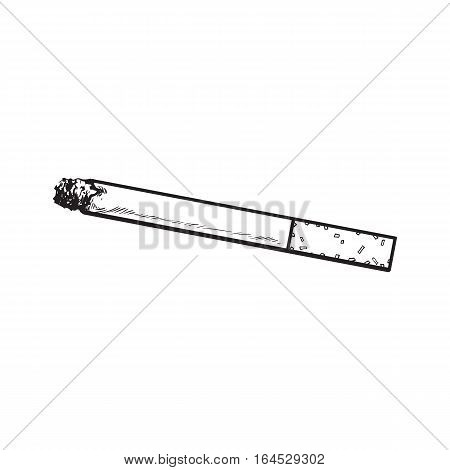 Lit, burning cigarette with yellow filter, side view, sketch vector illustration isolated on white background. Whole, new hand drawn cigarette, ready to smoke, tobacco product