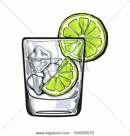 Glass of gin, vodka, soda water with ice and lime, sketch style vector illustration isolated on white background. Realistic hand drawing of transparent alcohol shot with ice rocks and lime slices