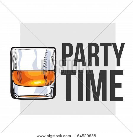 Scotch whiskey, rum, brandy shot glass, sketch style vector illustration for poster, banner, invitation design. Realistic hand drawing of a glass of whiskey shot, party time concept