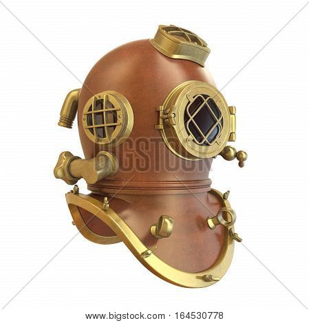 Old Diving Helmet isolated on white background. 3D render