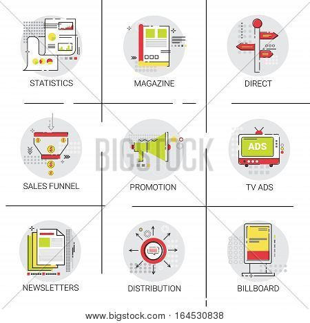 Marketing Sales Distribution Icon Set Promotion Advertisement Collection Vector Illustration