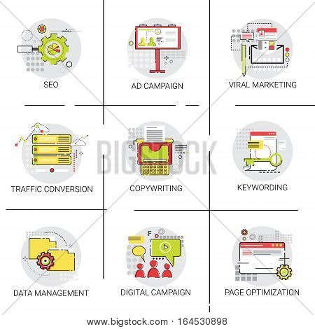 Traffic Conversion Seo Marketing Ad Campaign Optimization Data Management Icon Set Vector Illustration