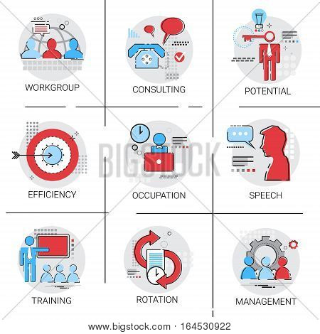 Management Business Team Leadership Icon Set Occupation Training Speech Potential Collection Vector Illustration