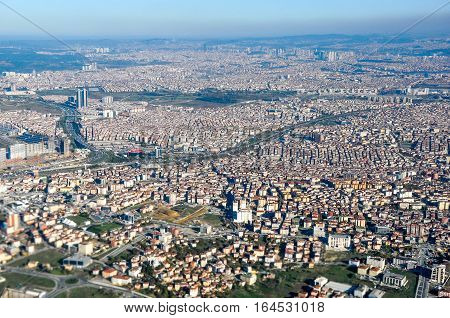 Aerial view of the Istambul city in Turkey