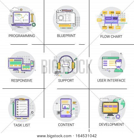 Software Application Interface Development Computer Programming Device Technology Content Icon Set Vector Illustration