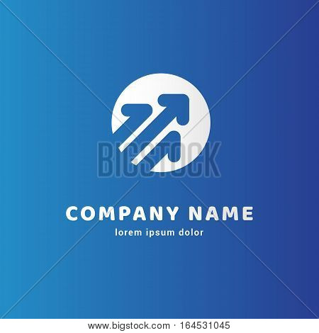 Illustration design of logotype progress arrow flat simple colorful