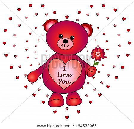 A vector illustration of a bright red Valentine's Day teddy bear, with a heart on its front with the message