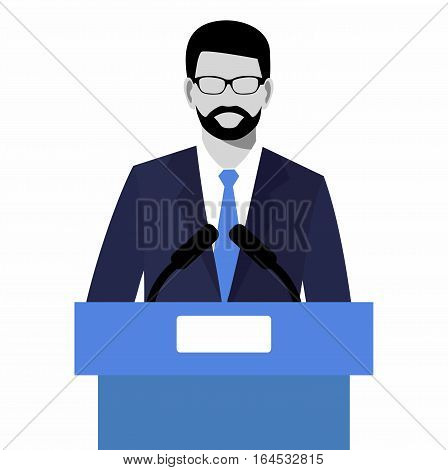 The flat modern design of Businessman giving a presentation. orator speaking from tribune vector illustration