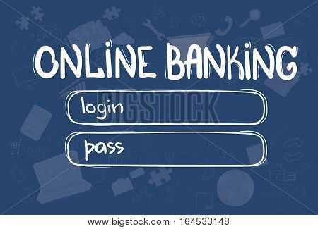 Online Banking Application Interface Concept Doodle Hand Draw Sketch Background Vector Illustration