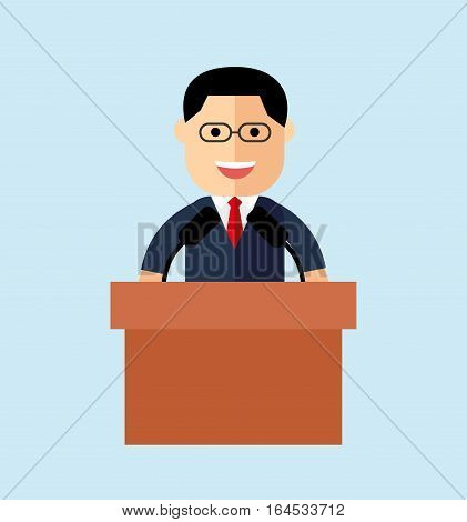 orator speaking from the tribune. public speaker. vector illustration in the flat style