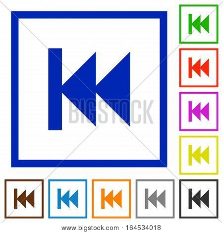 Media fast backward flat color icons in square frames on white background