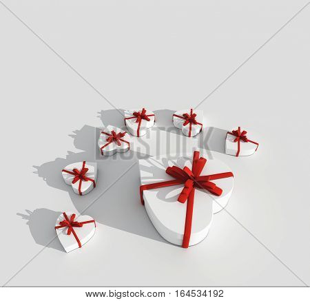 3D rendering of seven hart gift boxes with red ribbon on white background
