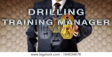 Male recruiter in blue suit is touching DRILLING TRAINING MANAGER on an interactive virtual computer monitor. Oil and gas industrial job metaphor for a mentoring role in petroleum engineering.
