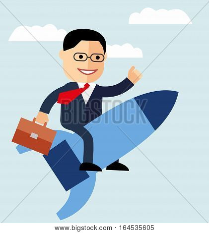 cartoon businessman flying on a rocket on blue sky background, startup. Vector creative color illustrations flat design in flat modern style. growth concept