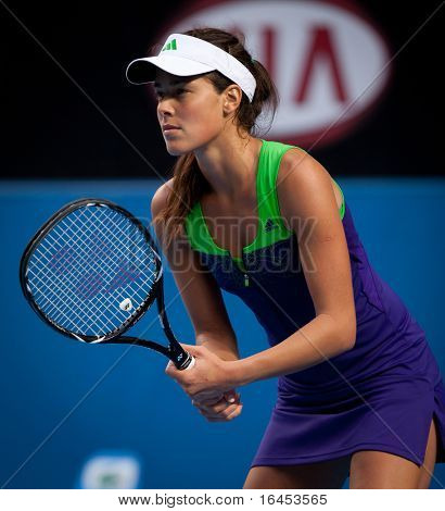 MELBOURNE - JANUARY 18: Ana Ivanovic of Serbia in her first round loss to Ekaterina Makarova of Russia in the 2011 Australian Open on January 18, 2011 in Melbourne, Australia.