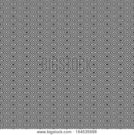 Vector monochrome seamless pattern, black & white repeat mosaic texture. Simple abstract background, geometric figures. Design element for tileable prints, stamping, decoration, textile, digital, wrapping, web