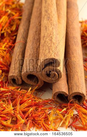 Cinnamon And Saffron With Shallow Depth Of Field