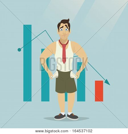 The manager thinks about the financial issue. Poor man. A character in a flat style, isolated on a blue background.