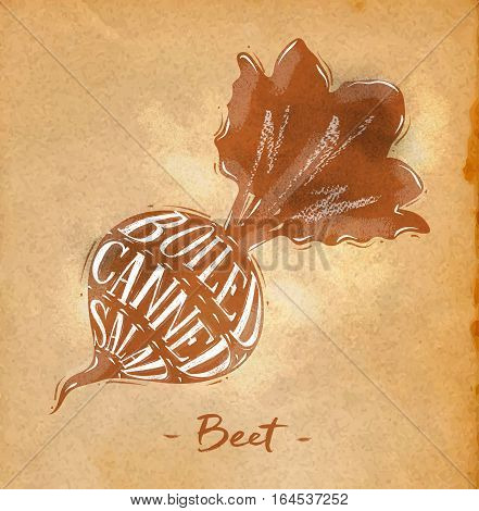 Poster beet cutting scheme lettering boiled canned salad in retro style drawing on craft paper background