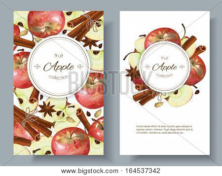 Vector apple and cinnamon banners. Design for sweets and pastries filled with apple, dessert menu, health care products. With place for text