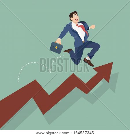 Businessman jump over growing chart. Happy employee and growth of the business.