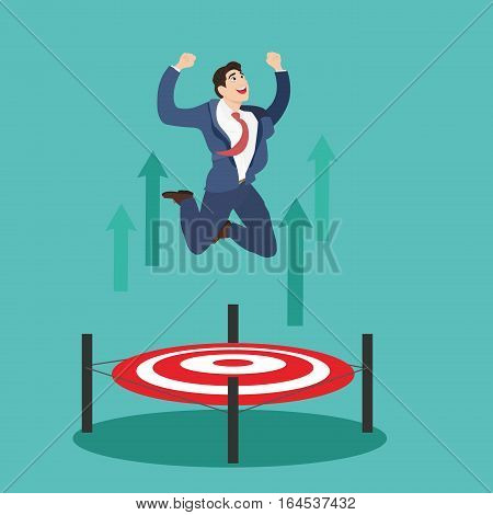 Businessman jumping up target trampoline. Business man jumping with target on the floor successful concept.