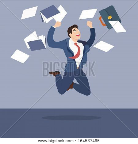 Businessman with a happy face jumping on paper documents. Vector illustration.