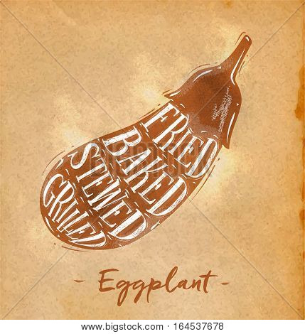 Poster eggplant cutting scheme lettering fried baked stewed grilled in retro style drawing on craft paper background