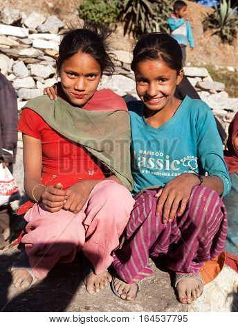 KOLTI VILLAGE WESTERN NEPAL 3rd DECEMBER 2013 - two nepalese children young girls in western Nepal near Kolti village