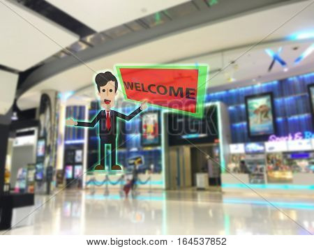 internet of things marketing concept augmented realitythe company use ar to show ar 3d receiptionist to welcome to go inside the store/shop