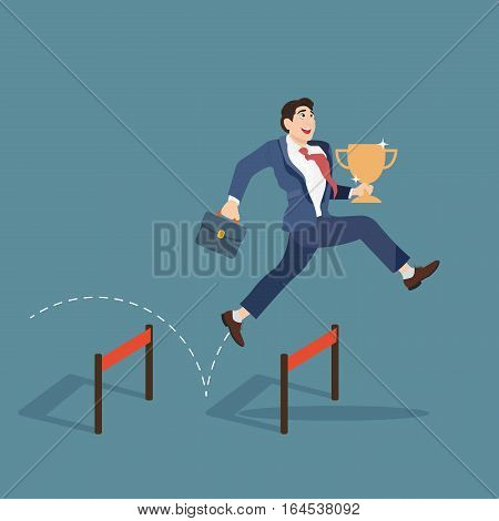 Businessman jumping over obstacle and holding trophy. Business concept vector